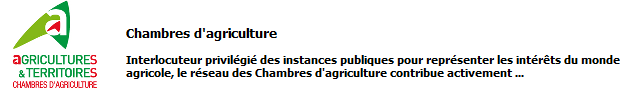 Chambres d'agricultures